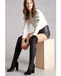 Forever 21 Velvet Over The Knee Boots