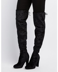 Charlotte Russe Velvet Tie Back Over The Knee Boots