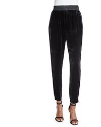 Rebecca Taylor Velvet Slim Fit Pants Black