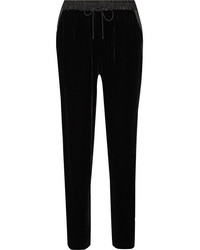 Elizabeth and James Collier Satin Trimmed Velvet Track Pants Black