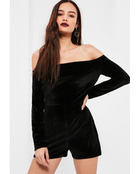 Missguided black long sleeve bardot velvet playsuit medium 961541