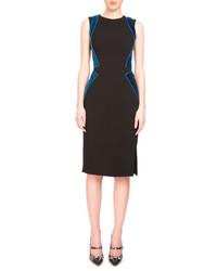 Altuzarra Allie Sleeveless Combo Sheath Dress Black