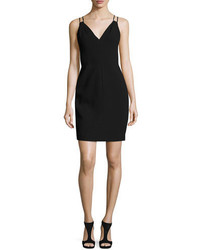 Carmen Marc Valvo Sleeveless Velvet Sheath Dress Black