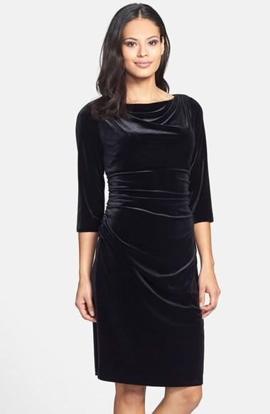 Adrianna Papell Drape Neck Ruched Velvet Sheath Dress | Where to buy ...
