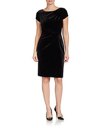 Ellen Tracy Gathered Velvet Cap Sleeve Dress