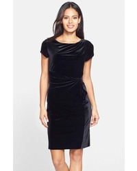 Ellen Tracy Gathered Velvet Sheath Dress