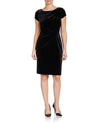 Ellen Tracy Gathered Velvet Cap Sleeve Dress