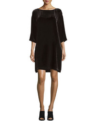 Eileen Fisher 34 Sleeve Velvet Shift Dress