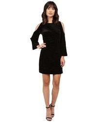 Adrianna Papell Cold Shoulder Floral Burnout Velvet Shift Dress