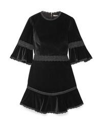 Alice + Olivia Doloris Fluted Med Velvet Mini Dress