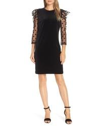 Julia Jordan Dot Mesh Sleeve Velvet Shift Dress
