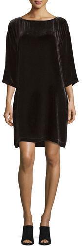 Eileen Fisher 34 Sleeve Velvet Shift Dress