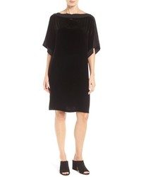 Eileen Fisher Petite Silk Trim Velvet Bateau Neck Shift Dress