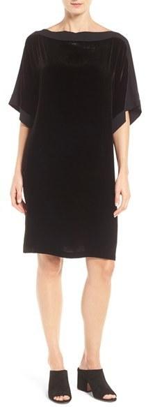 Eileen Fisher Silk Trim Velvet Bateau Neck Shift Dress