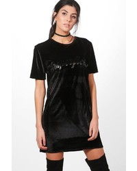 Boohoo Karrueche Velvet Slogan Shift Dress