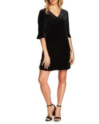 CeCe Kate Ruffle Velvet Shift Dress