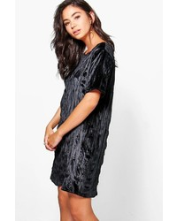 Boohoo Lizzie Velvet Printed Cap Sleeve Shift Dress