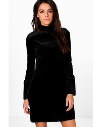 Boohoo Lucie Flute Sleeve Velvet Shift Dress