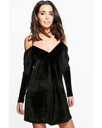 Boohoo Quinn Velvet Cold Shoulder Shift Dress