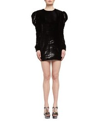Saint Laurent Ruched Velvet Puff Sleeve Shift Dress Black