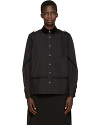 Sacai Black Velvet Collar Pleated Shirt