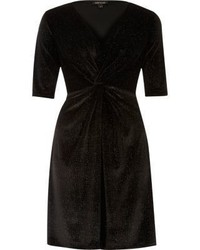 River Island Black Sparkly Velvet Knot Dress