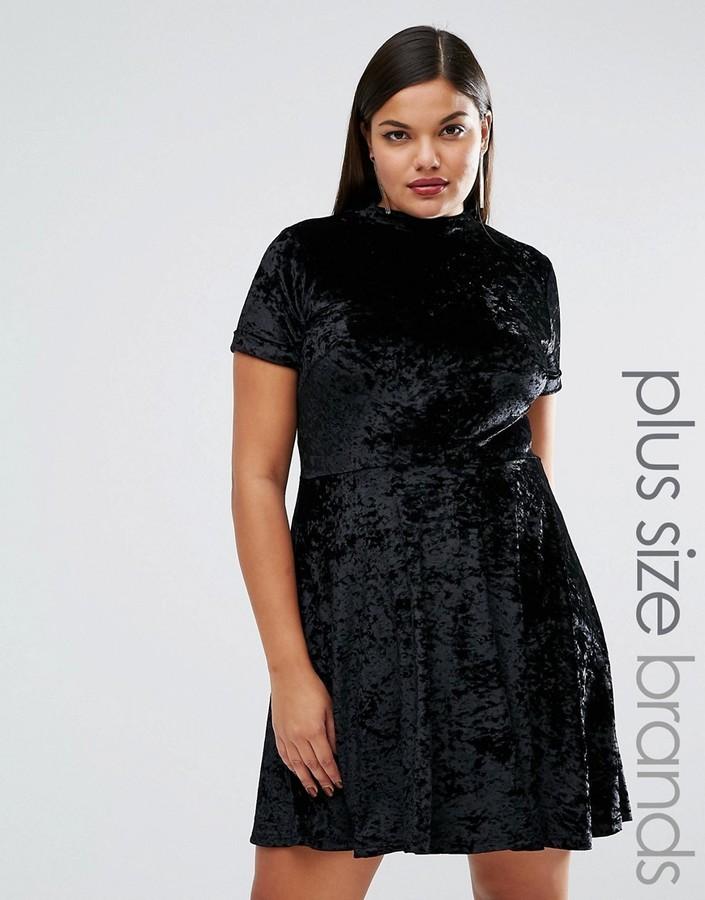 $46, Club L Plus Crushed Velvet High Neck Short Sleeve Skater Dress