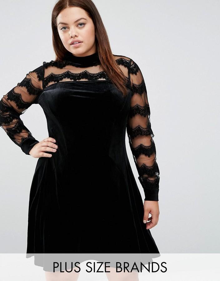 $89, Junarose Velvet Skater Dress With Mesh Insert