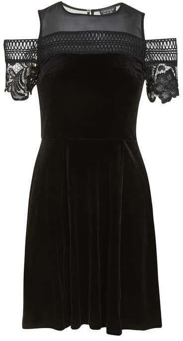 d9b89dba3330 Topshop Velvet Trim Cold Shoulder Skater Dress, $95   Topshop ...
