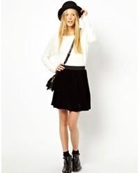 Monki Velvet Gathered Mini Skirt