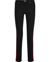 Givenchy Velvet Trimmed Mid Rise Skinny Jeans Black