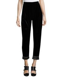Velvet cuffed fashion pants black medium 3697906