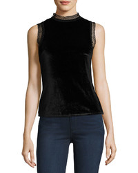 MinkPink Mink Pink Tell Tale Lace Trim Velvet Top Black