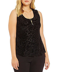 Jessica Simpson Plus Regina Sleeveless Burnout Velvet Top
