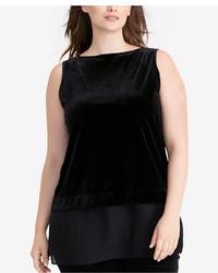 Lauren Ralph Lauren Plus Size Sheer Hem Velvet Shirt