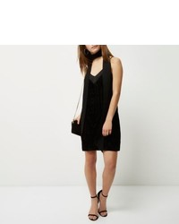 River Island Petite Black Burnout Velvet Slip Dress