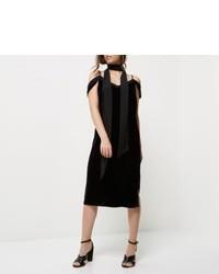 River Island Petite Black Velvet Cold Shoulder Slip Dress