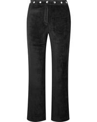 ALEXACHUNG Embellished Velvet Track Pants
