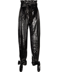 ATTICO Tie Detailed Metallic Velvet Straight Leg Pants