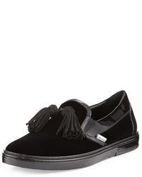 Jimmy Choo Griffin Velvet Tassel Slip On Sneaker