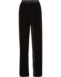 Fendi Chiffon Trimmed Velvet Wide Leg Pants Black