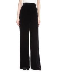 Etro Largo Velvet High Waist Wide Leg Pants Black