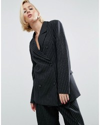 Asos Wah London X Double Breasted Blazer In Pinstripe