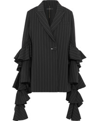 Perfect pitch ruffled pinstriped crepe blazer black medium 5172889