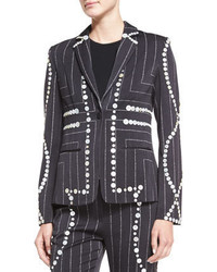 Edun Square Pinstripe Button Trimmed Blazer