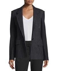 DKNY Striped Wool Blend Jacket Black