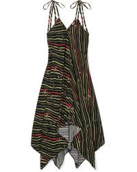 Loewe Paulas Ibiza Asymmetric Printed Crepe Dress