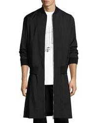 McQ Alexander Ueen Pinstripe Extended Hem Coat