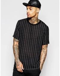 Black Vertical Striped Crew-neck T-shirt
