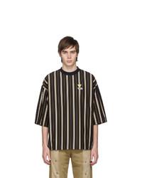 MAISON KITSUNÉ Black Oversized Smiley Fox T Shirt